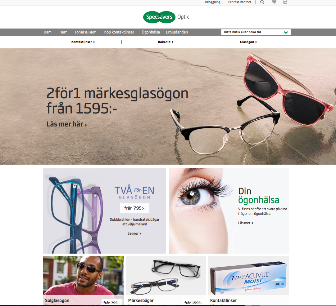 screenshot på Specsavers